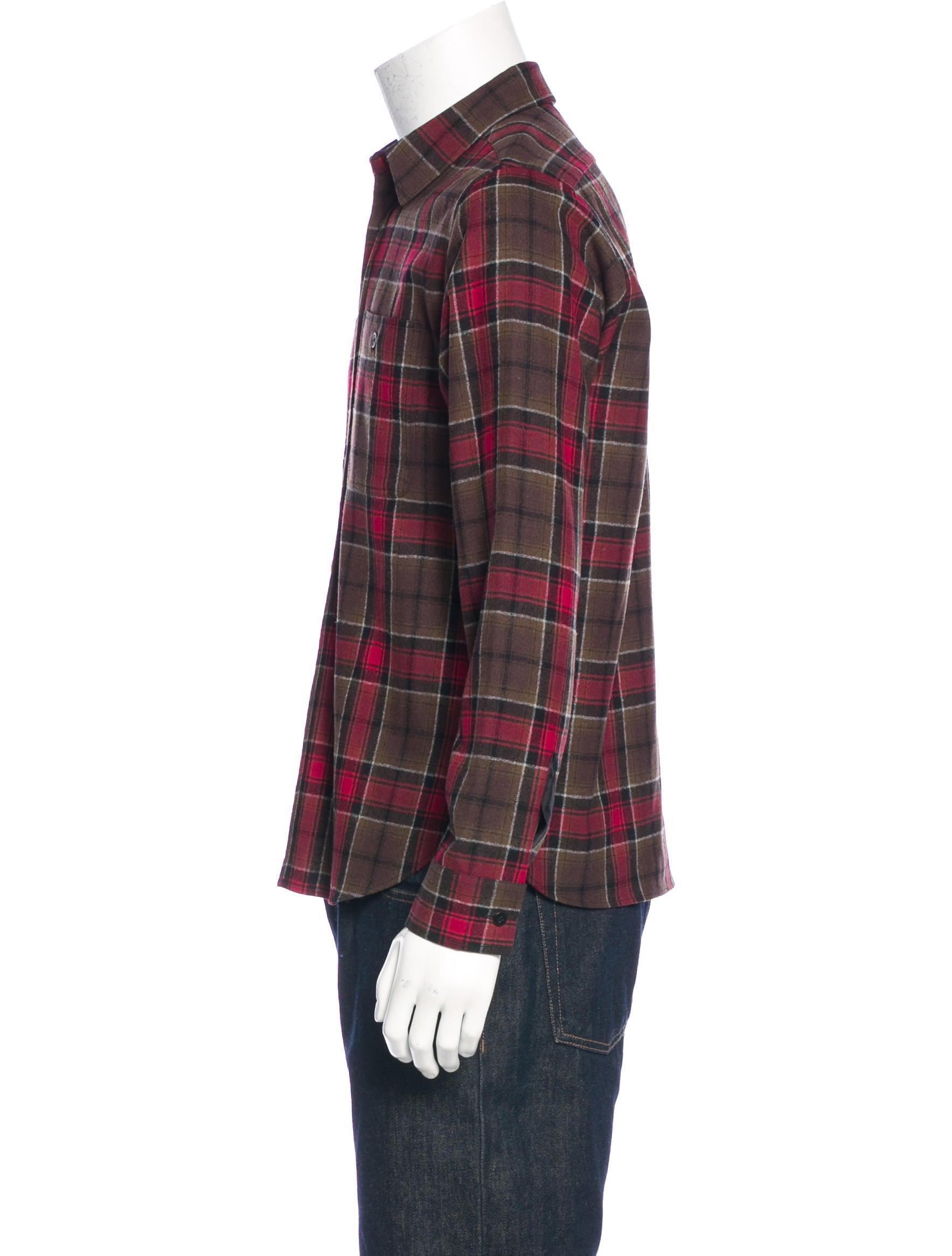 Saint laurent wool plaid flannel shirt clothing for Mens wool flannel shirt