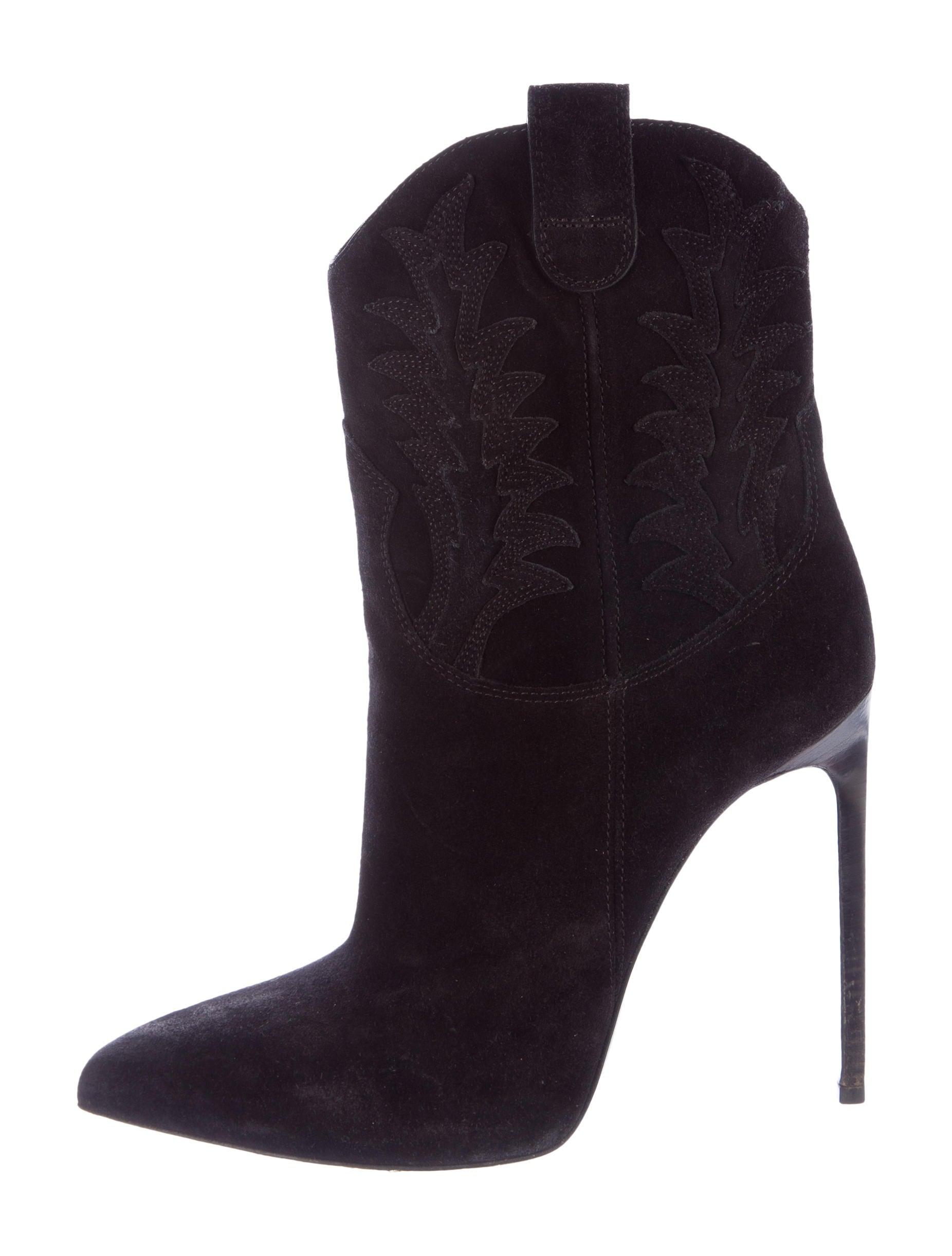 Saint Laurent Cowboy Suede Pointed Toe Boots Shoes