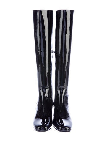 laurent patent leather knee high boots shoes