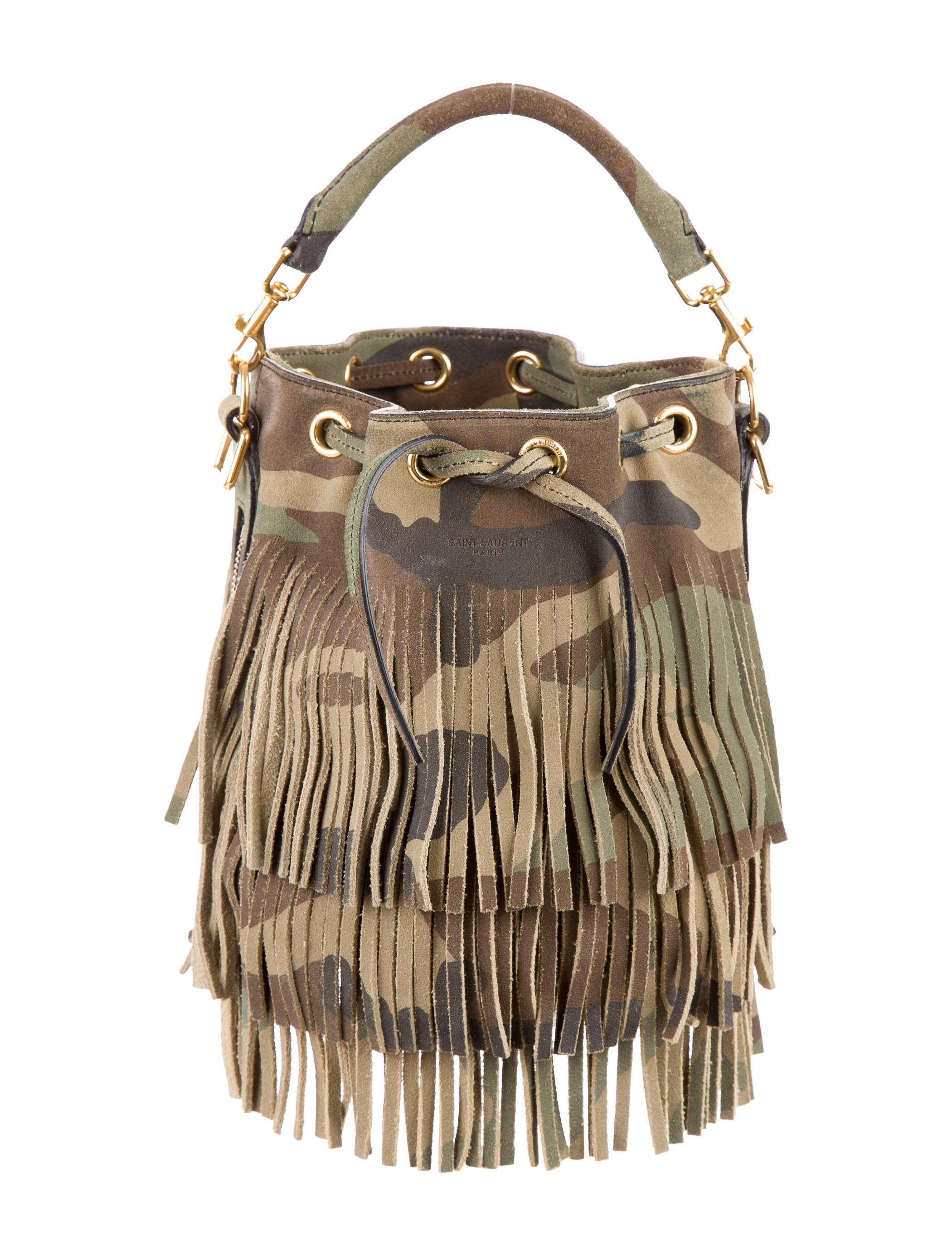 f6a4f4544f0 Saint Laurent Small Camouflage Fringed Emmanuelle Bucket Bag ...