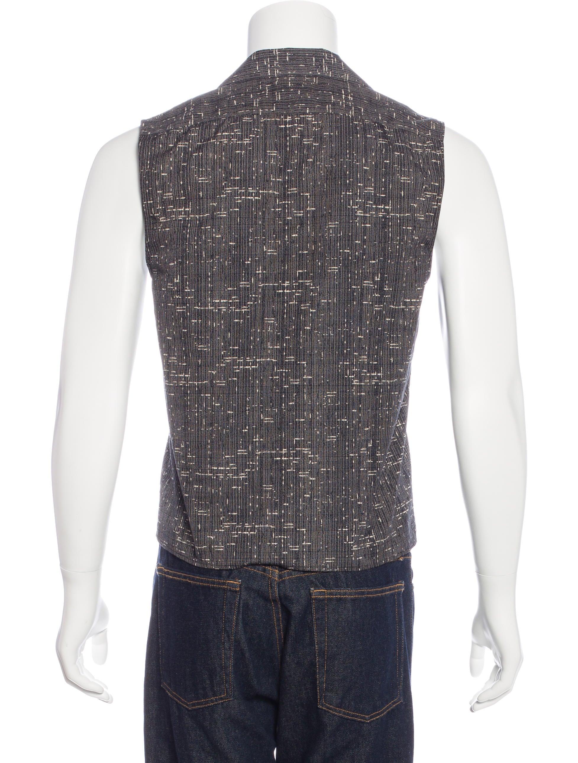 Saint laurent sleeveless camp collar shirt clothing for Sleeveless white shirt with collar