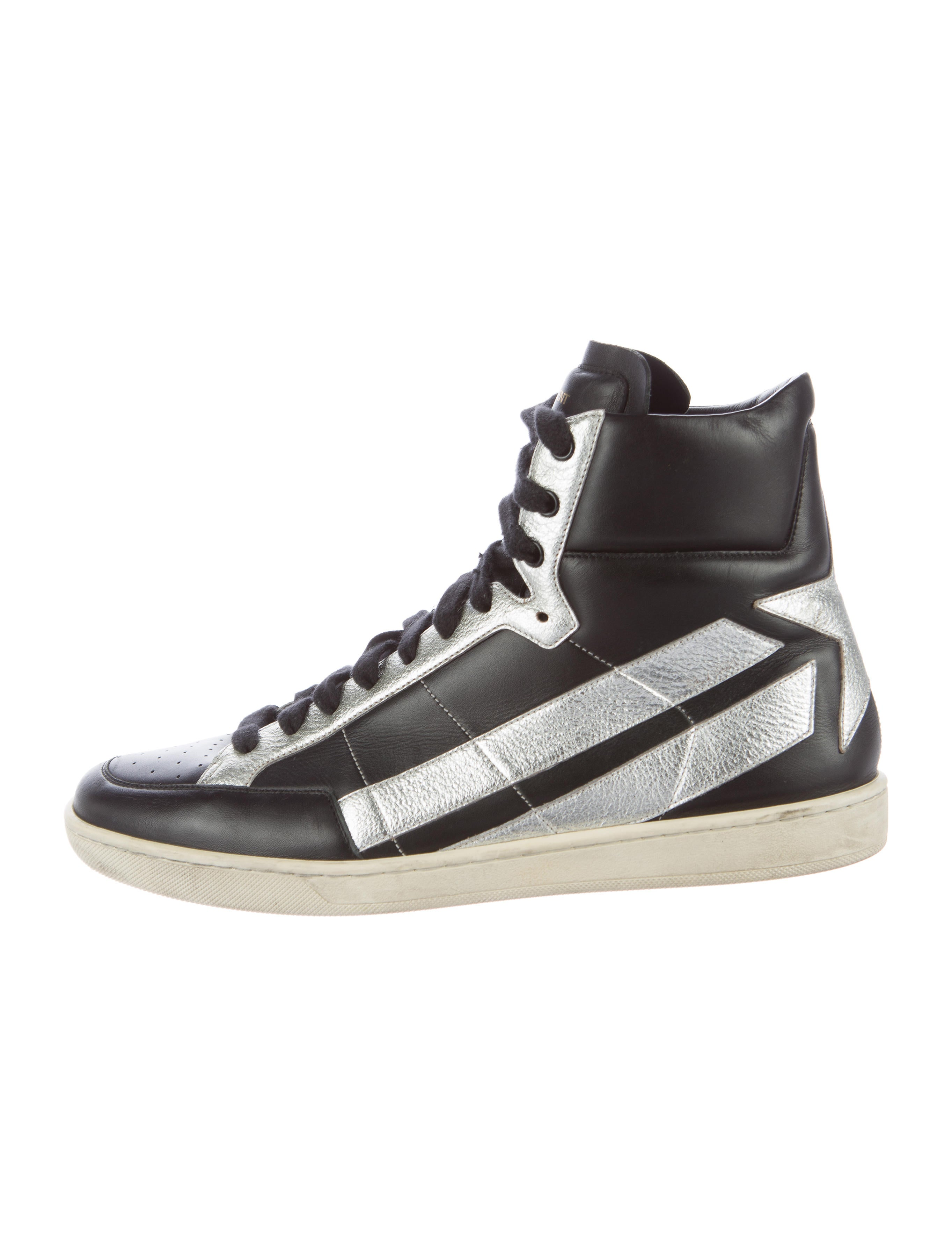 saint laurent leather high top sneakers shoes snt33125 the realreal. Black Bedroom Furniture Sets. Home Design Ideas