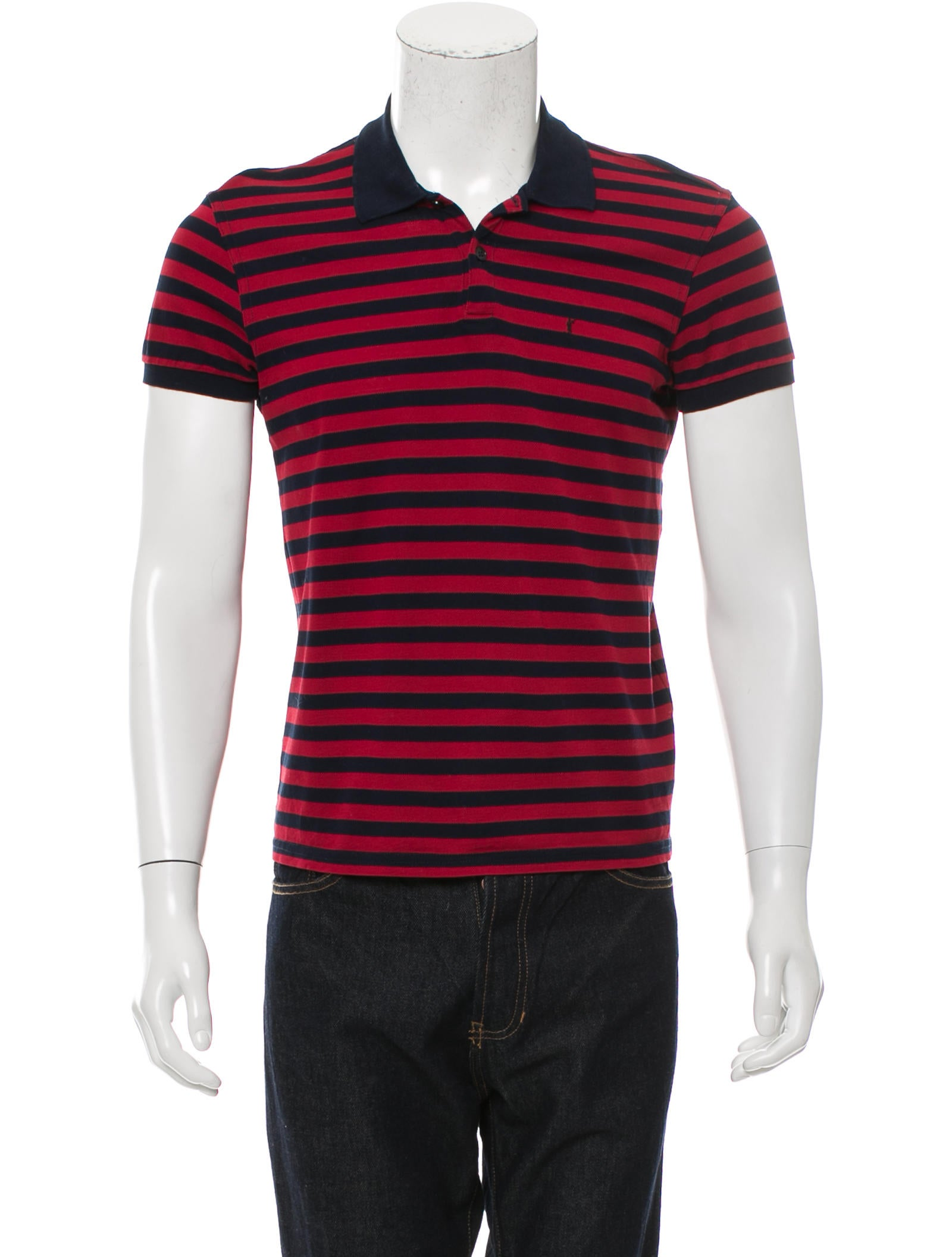 Saint laurent logo embroidered polo shirt clothing for Embroidered logos on shirts