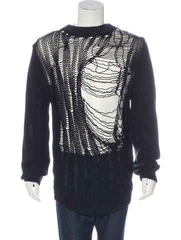 Saint Laurent Distressed Rib Knit Sweater None