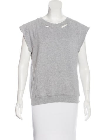 Saint Laurent Sleeveless Distressed Sweatshirt None