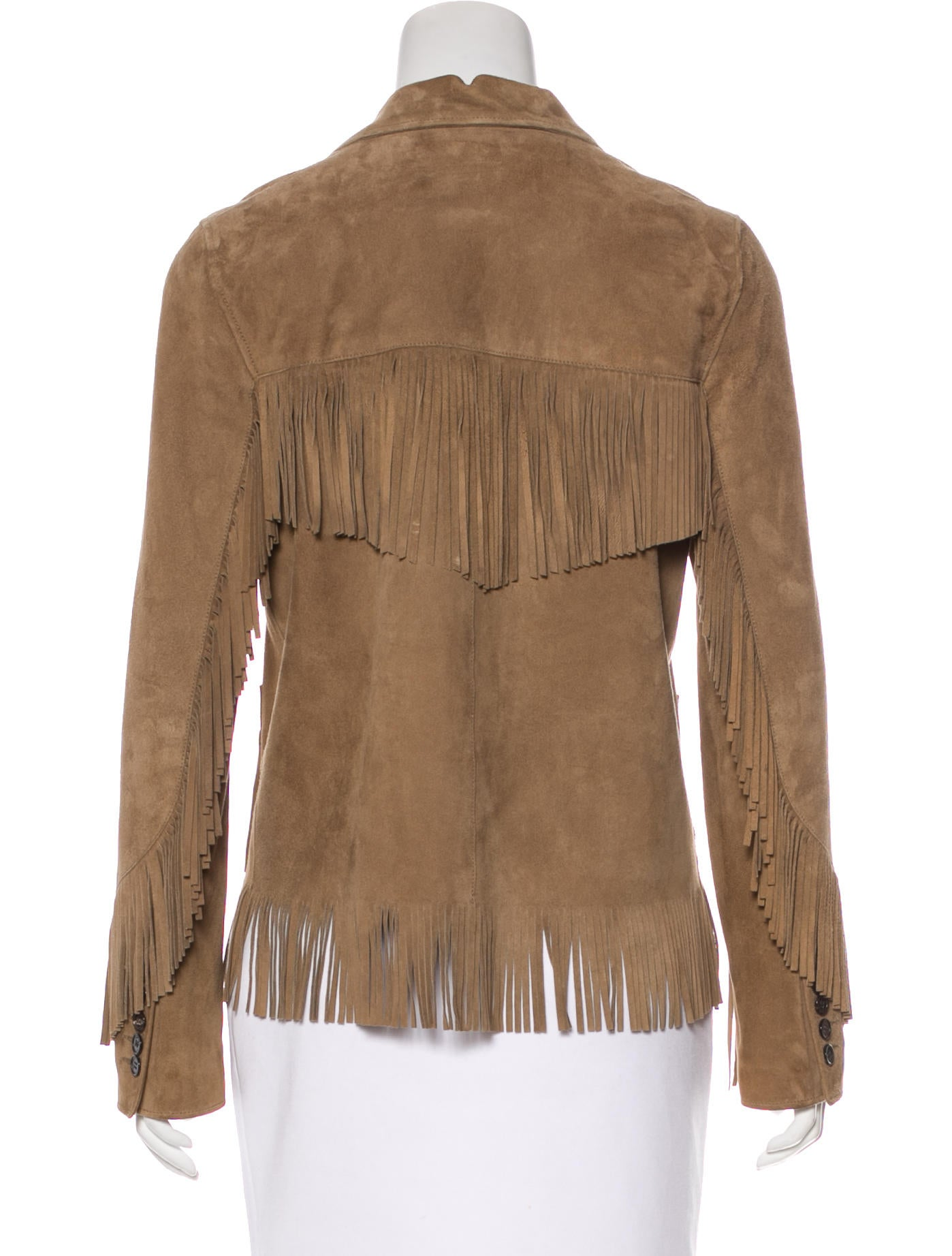 Saint Laurent Suede Fringe Trimmed Jacket Clothing
