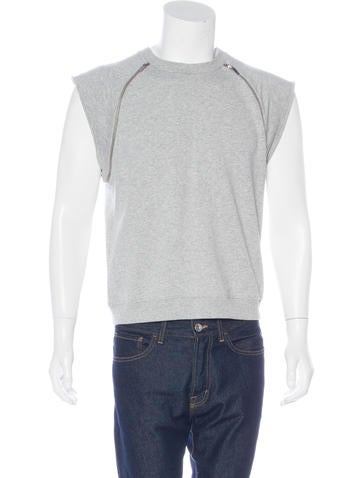 Saint Laurent Sleeveless Zip-Accented Sweatshirt None