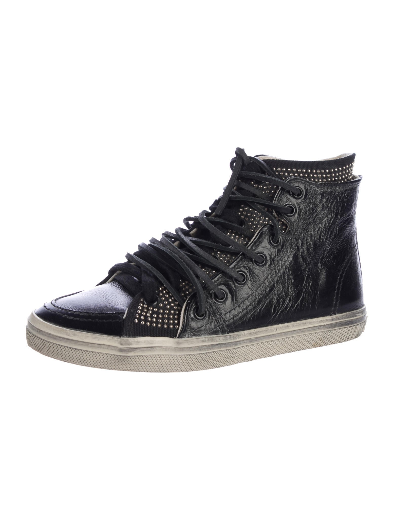 saint laurent studded high top sneakers shoes snt35850 the realreal. Black Bedroom Furniture Sets. Home Design Ideas