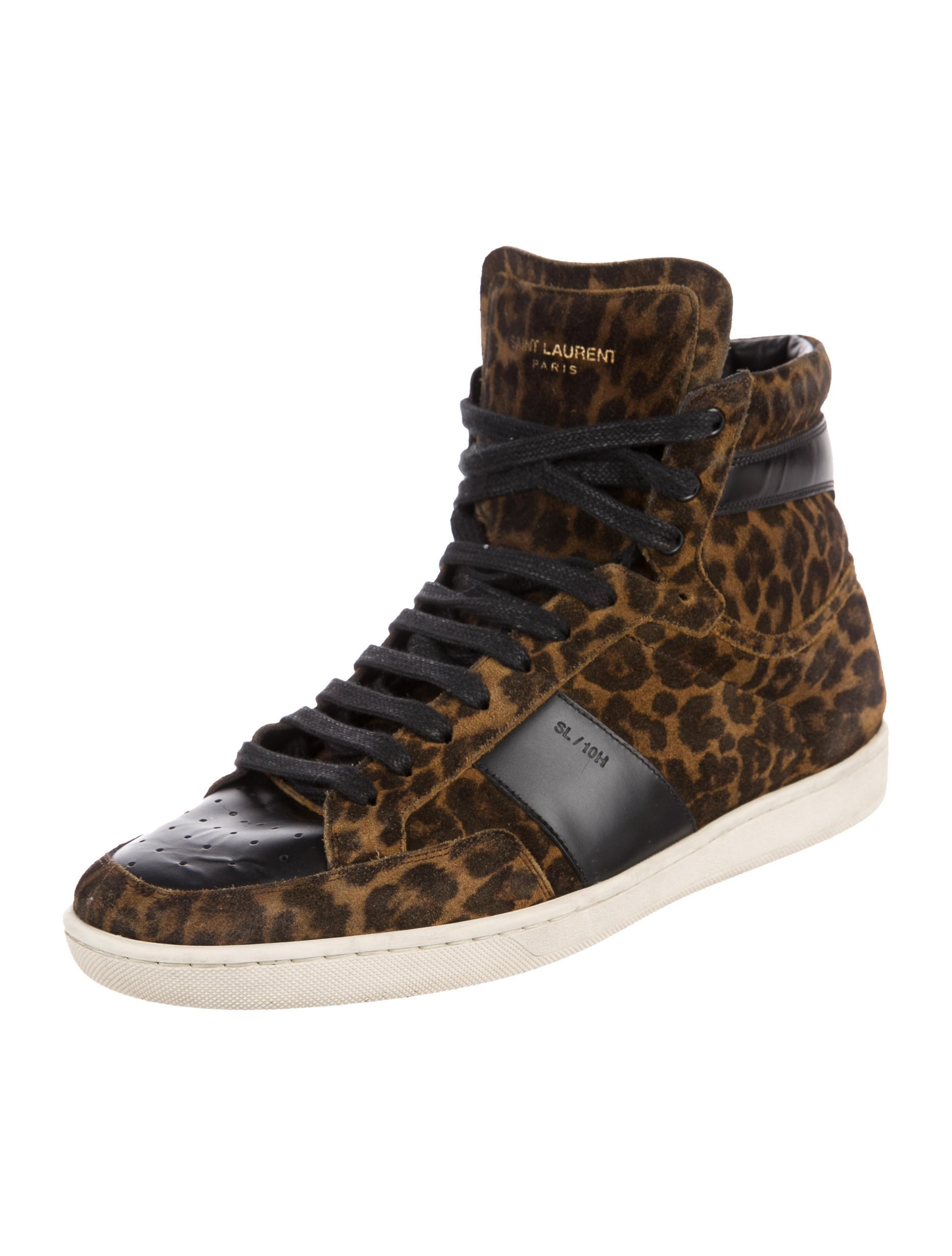 saint laurent sl 10 leopard print sneakers shoes snt36455 the realreal. Black Bedroom Furniture Sets. Home Design Ideas