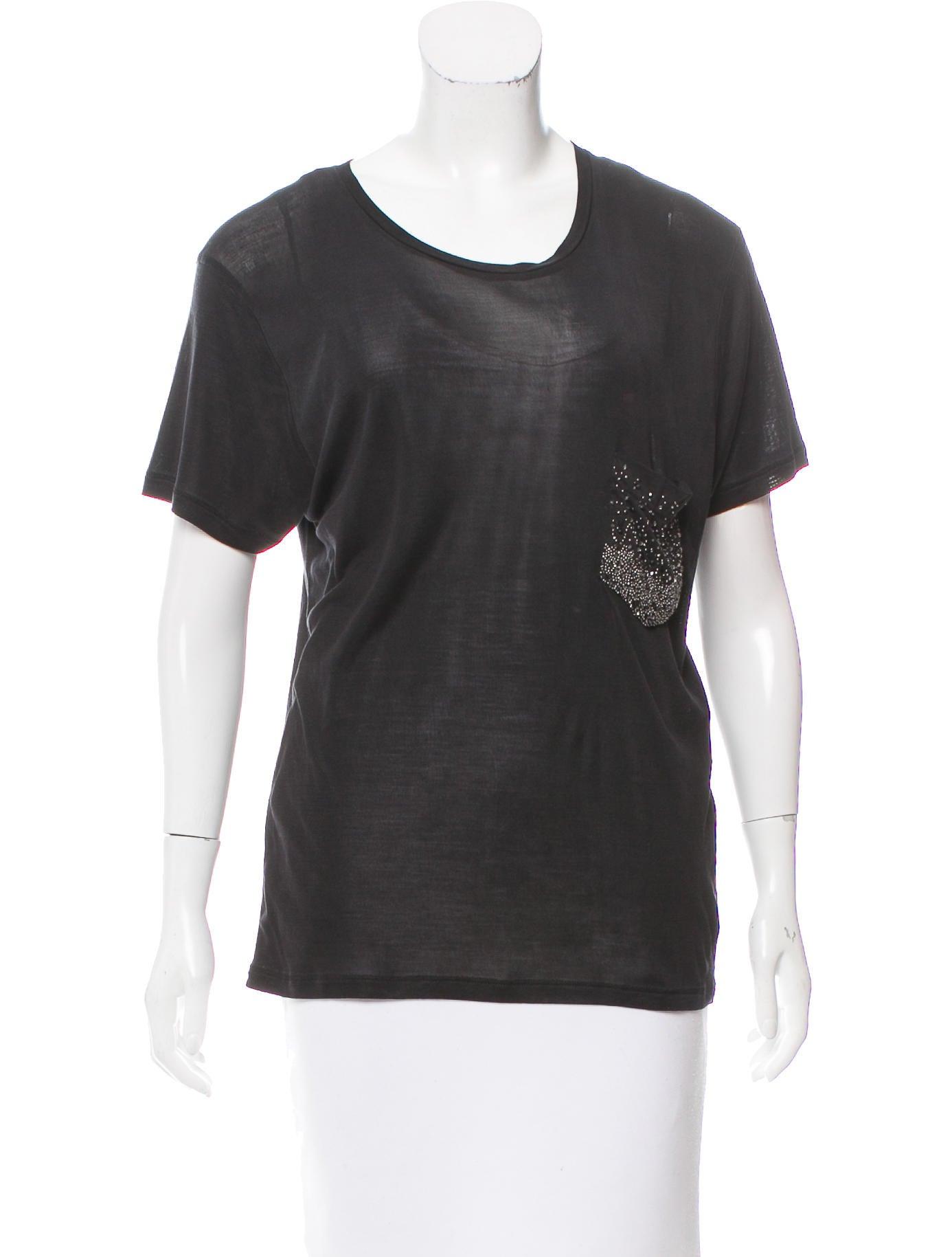 Saint laurent embellished silk t shirt clothing for Saint laurent shirt womens