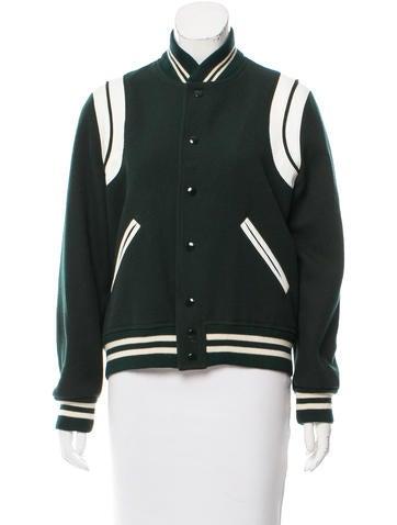 Saint Laurent Leather-Trimmed Virgin Wool Jacket None