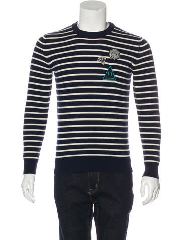 Saint Laurent 2017 Striped Patch Appliqué Sweater None