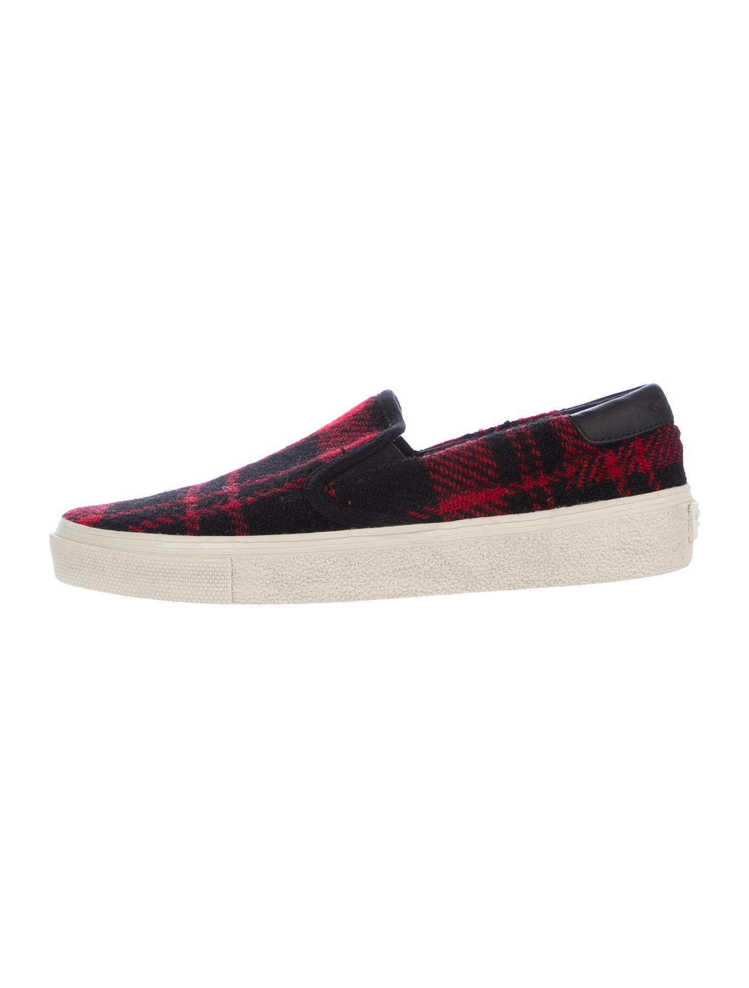 laurent plaid slip on sneakers shoes snt37871