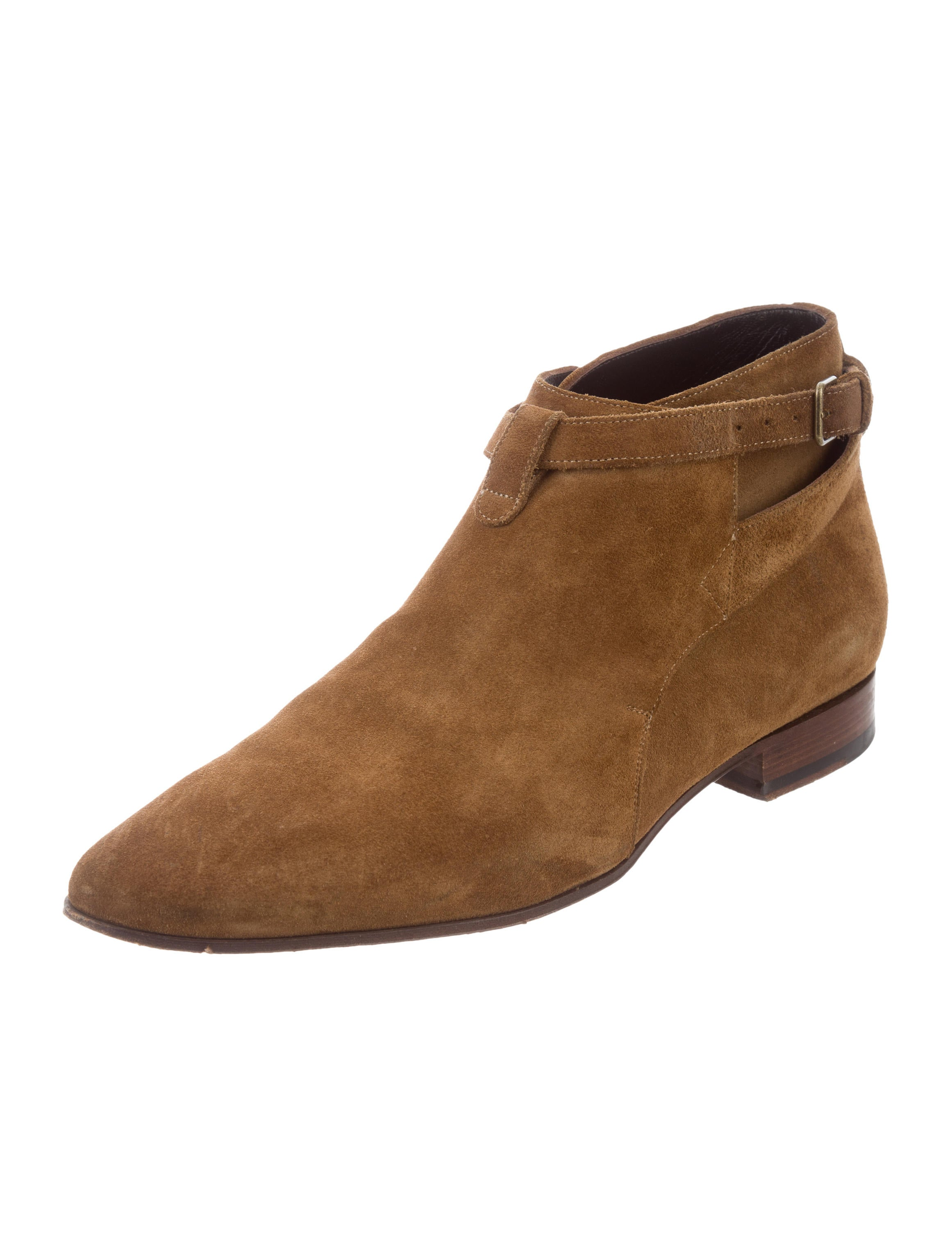 laurent jodhpur suede buckle ankle boots shoes snt37906 the realreal