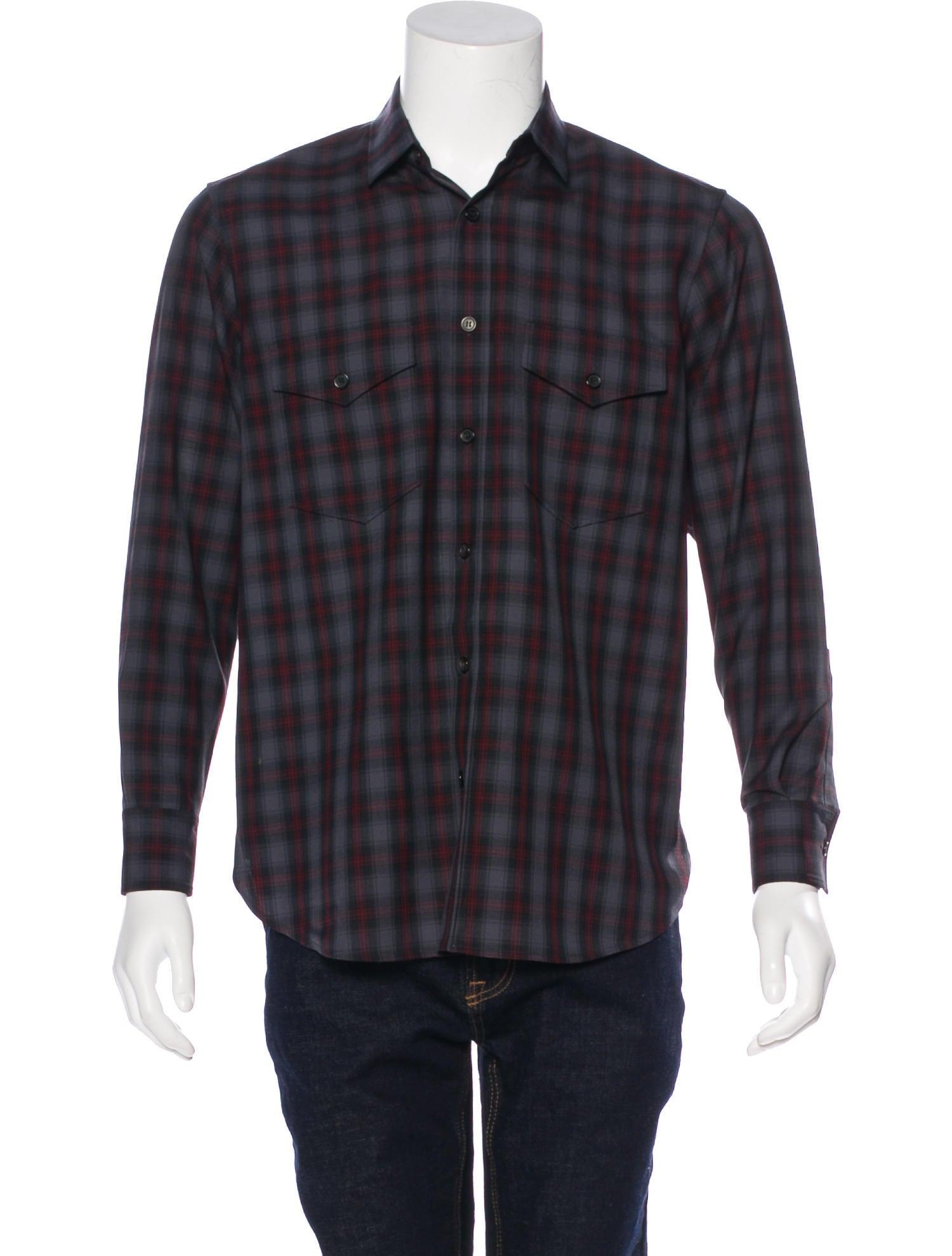 saint laurent plaid wool shirt clothing snt37991 the