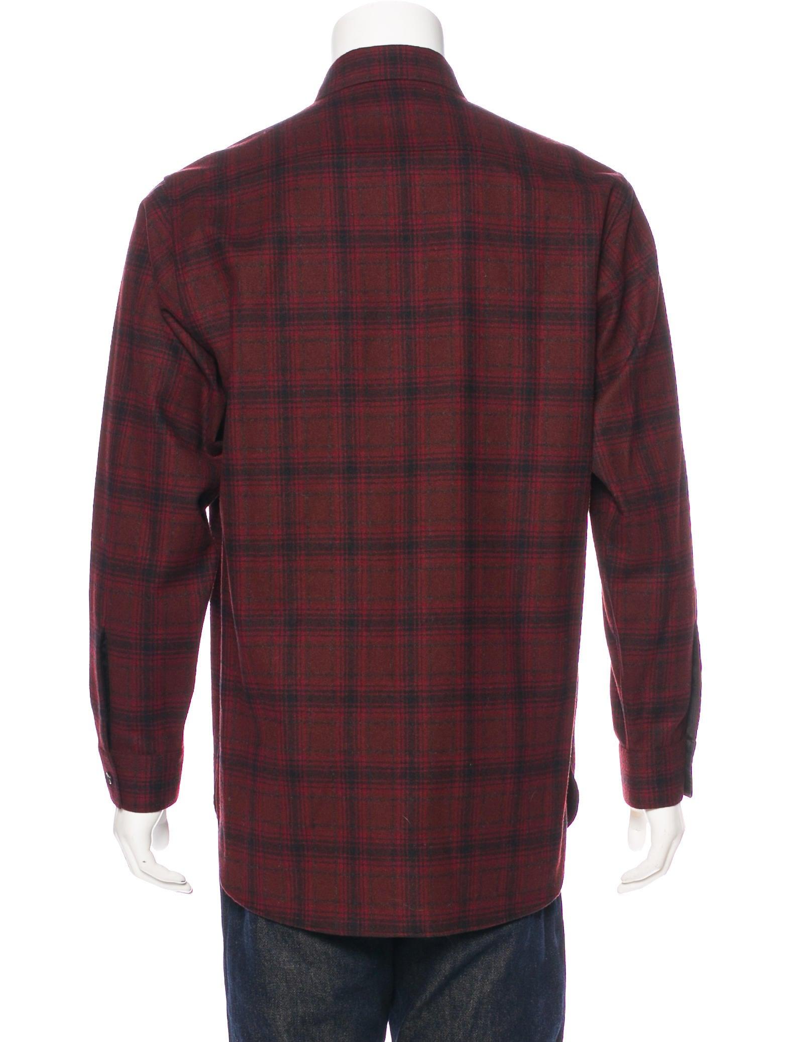 Saint laurent plaid wool flannel shirt clothing for Mens wool flannel shirt