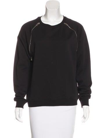 Saint Laurent Zip-Accented Crew Neck Sweatshirt None
