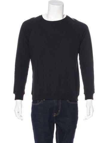 Saint Laurent Leather-Trimmed Crew Neck Sweatshirt None