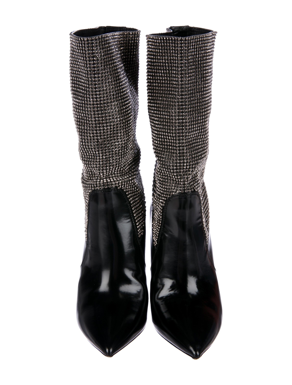 Saint Laurent Niki Mesh Crystal Booties Shoes Snt39579