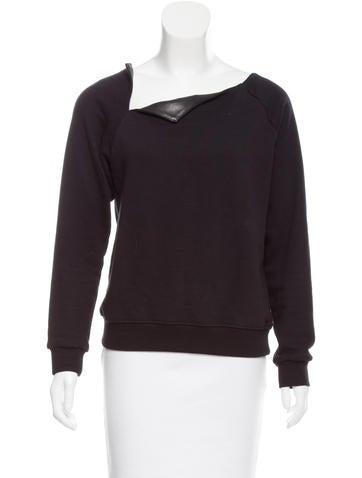 Saint Laurent Leather-Trimmed Sweatshirt None
