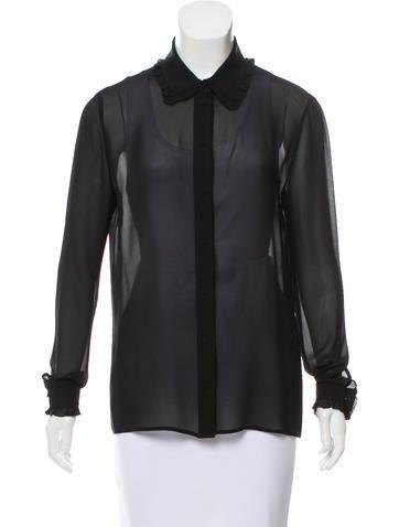 Saint Laurent Silk Button-Up Top None