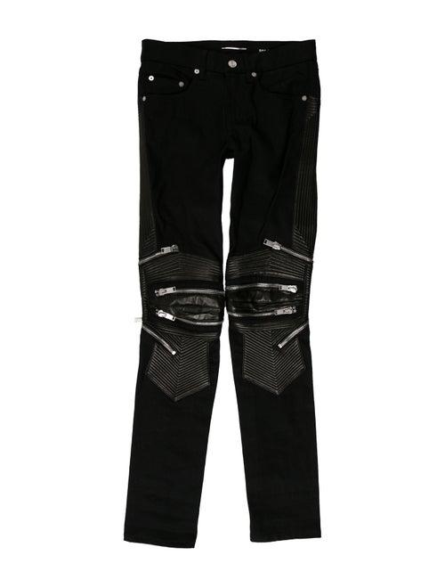 5ae17aef2ac Saint Laurent D04 Leather-Trimmed Biker Jeans - Clothing - SNT43904 ...