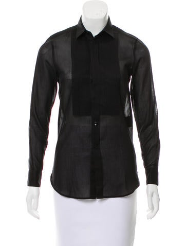 Saint Laurent Pleated Button-Up Top None