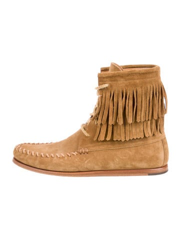Saint Laurent Fringe-Trimmed Moccasin Boots finishline aXBiDcXVTH