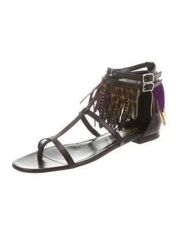 buy cheap best place Saint Laurent Fringe-Trimmed Multistrap Sandals cheap sale 100% authentic cYzZ1