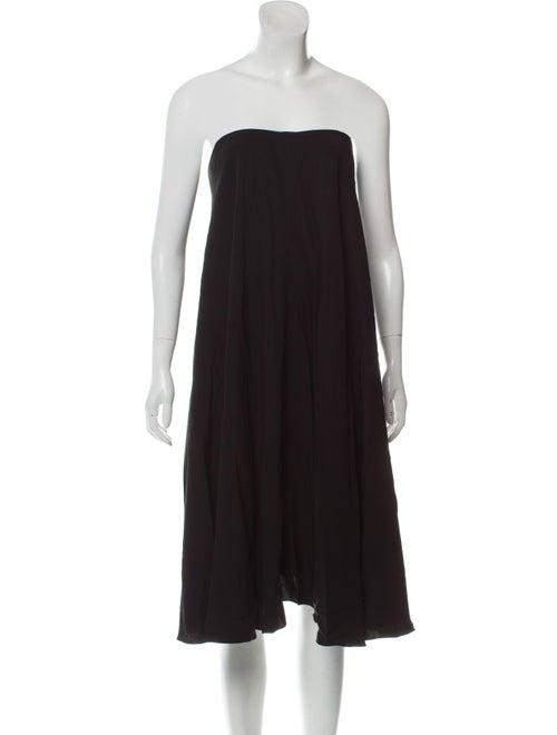 Saint Laurent Asymmetrical Cape Dress Black