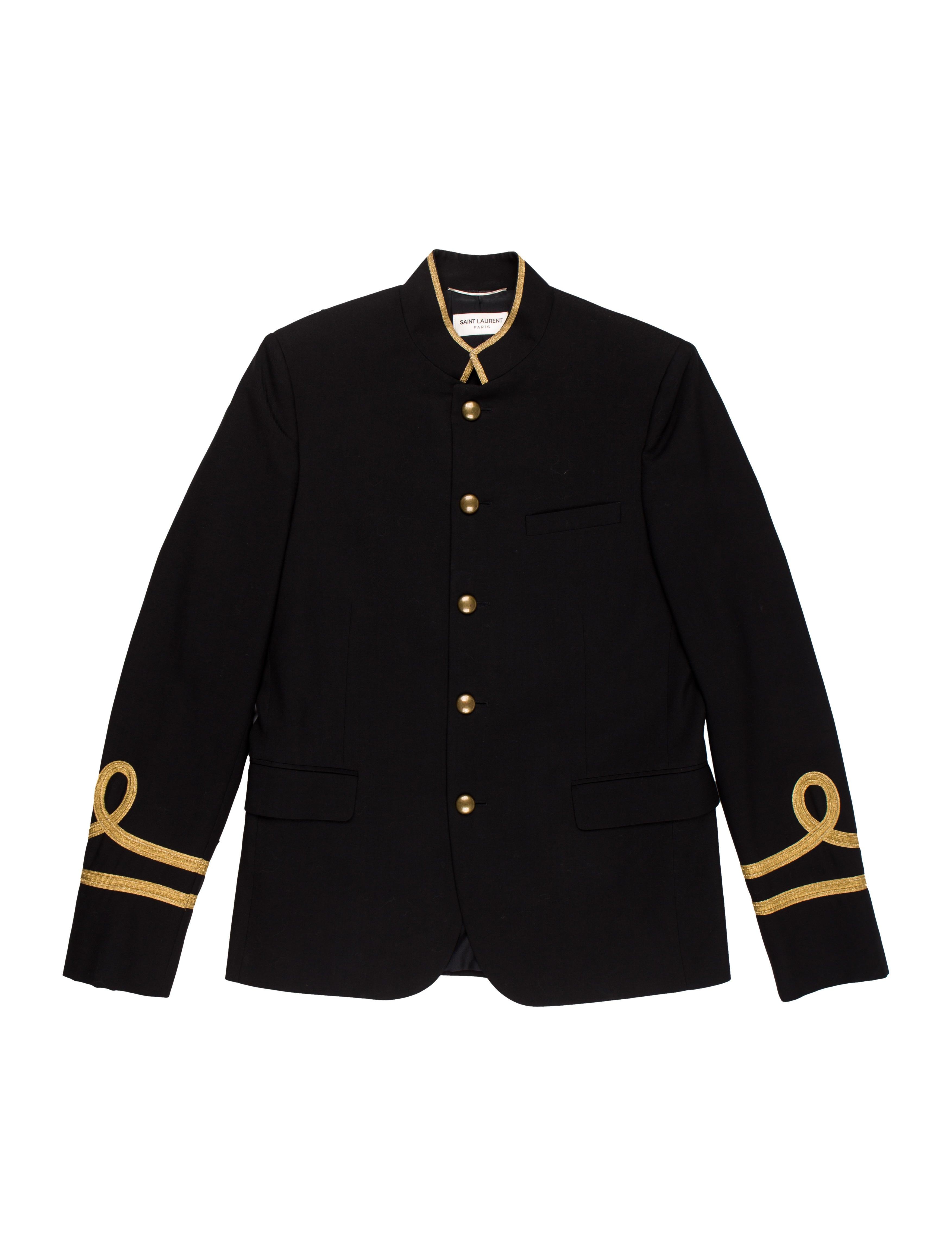 504f49d3729 Saint Laurent 2015 Metallic Virgin Wool Officer Jacket - Clothing ...