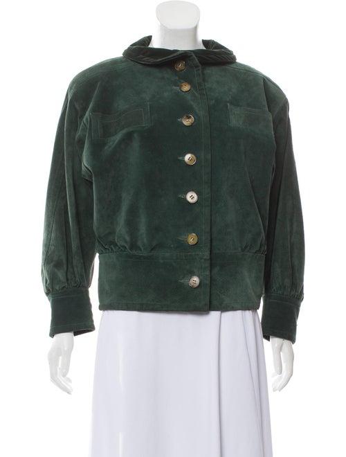 Saint Laurent Suede Button-Up Jacket Green