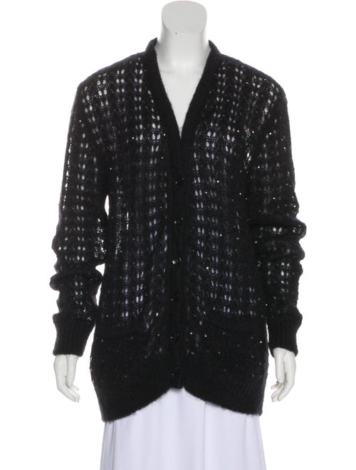 Saint Laurent Mohair Knit Cardigan Black