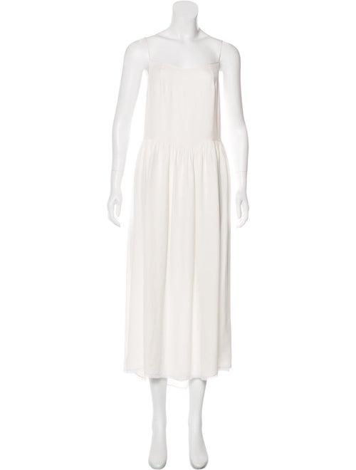 Saint Laurent Sleeveless Maxi Dress white
