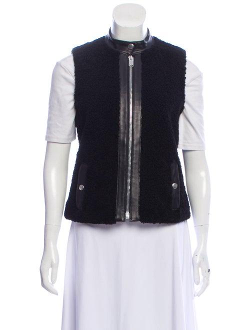 Saint Laurent Shearling Leather-Trimmed Vest Black