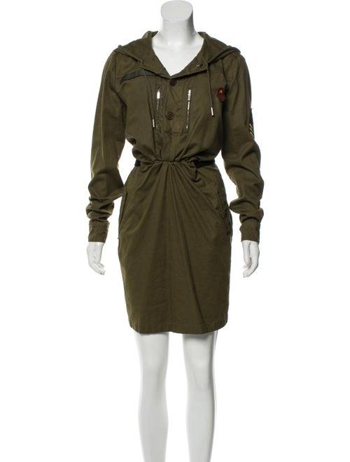 Saint Laurent Hooded Mini Dress Green
