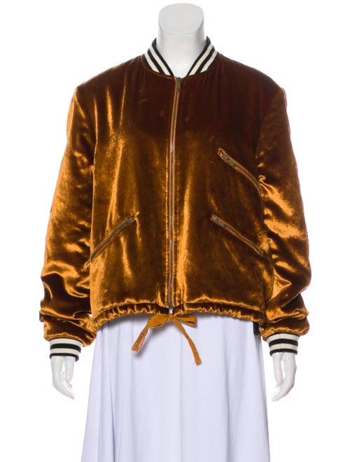 Saint Laurent Velvet Bomber Jacket Orange