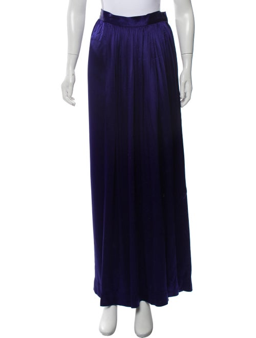 Saint Laurent Satin Maxi Skirt Purple