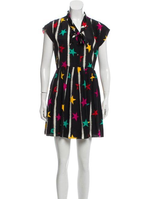 Saint Laurent Silk Star Print Dress Black