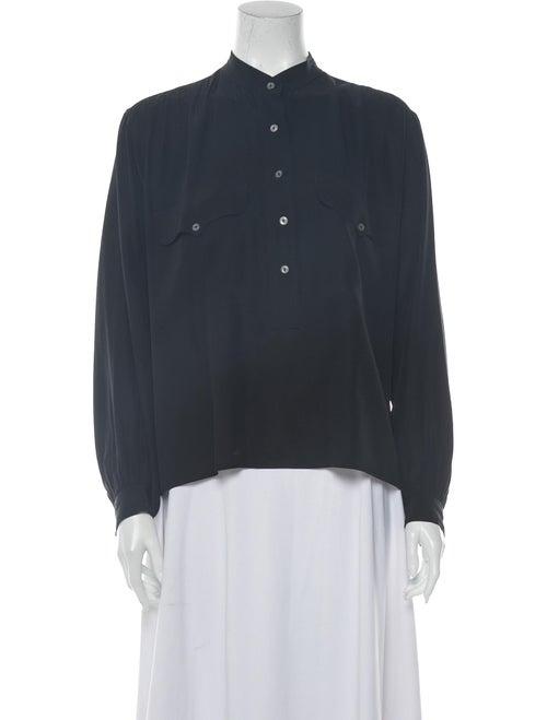 Saint Laurent Vintage Mock Neck Blouse Black