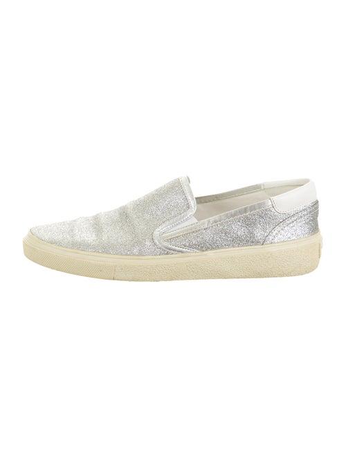 Saint Laurent Glitter Slip-On Sneakers Silver