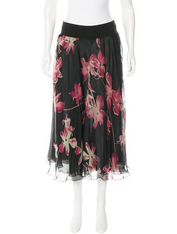 Sonia Rykiel Floral Silk Skirt None
