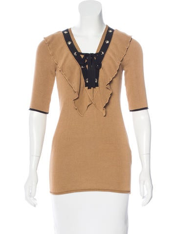 Sonia Rykiel Lace-Up Ruffle-Accented Top w/ Tags None