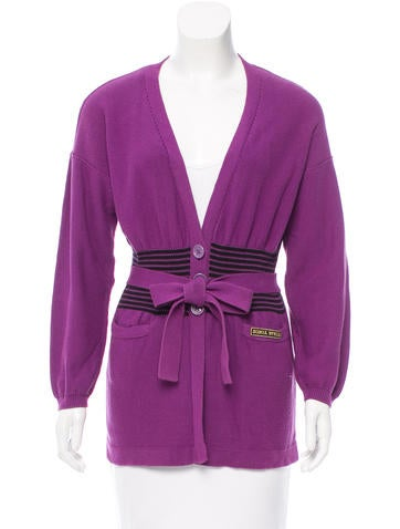 Sonia Rykiel Striped Belted Cardigan None
