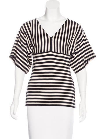 Sonia Rykiel Stripe Pattern V-Neck Top None