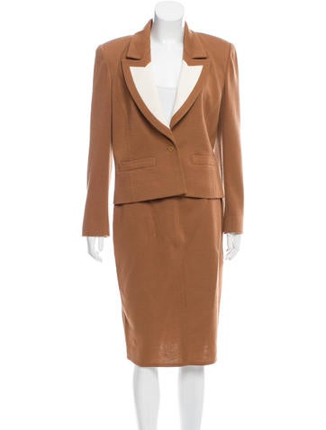 Sonia Rykiel Wool Colorblcok Skirt Suit None