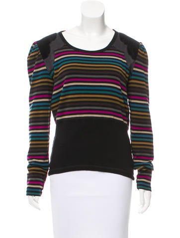 Sonia Rykiel Striped Scoop Neck Sweater None