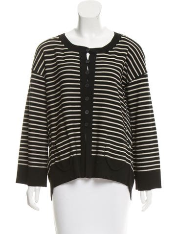 Sonia Rykiel Striped Pleated Cardigan None