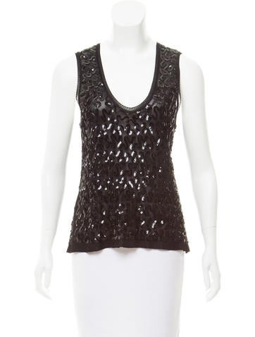 Sonia Rykiel Sleeveless Sequined Top None