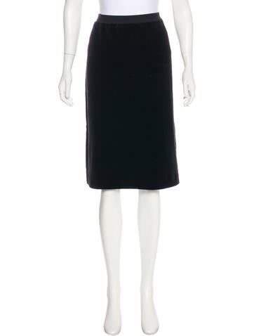 Sonia Rykiel Velvet Knee-Length Skirt None